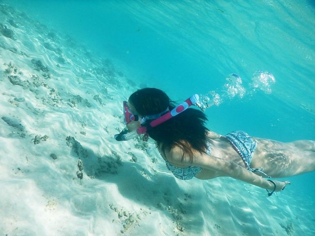 愛用中のシュノーケリングセットで泳ぐ