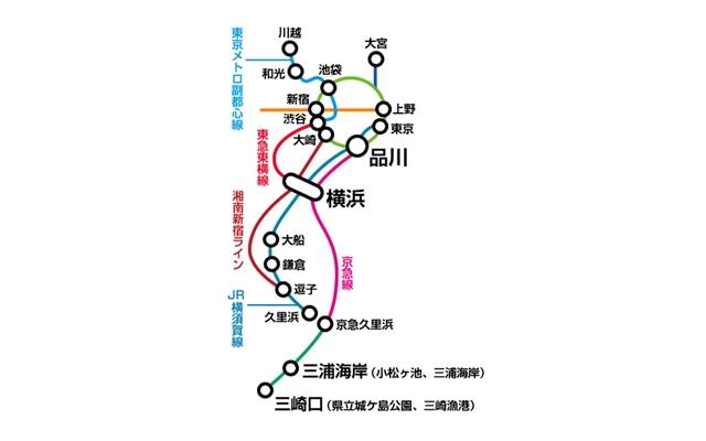 三浦海岸海水浴場へ電車で行く図