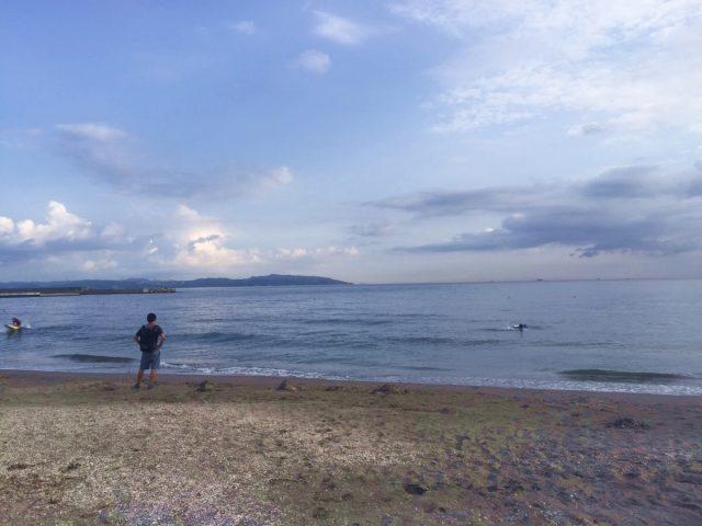富津海水浴場の夕方