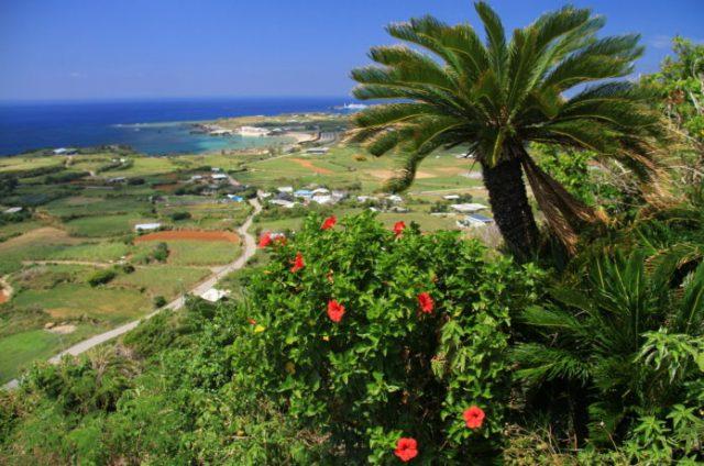 与論島の観光地である与論城跡絡みえる景色