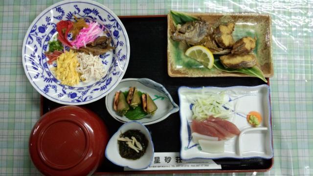 与論島の民宿の料理
