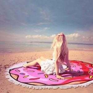ドーナツ柄のビーチタオル