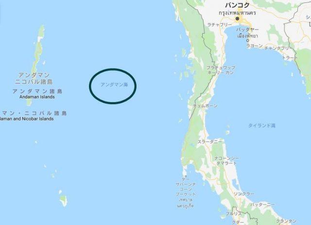 カオラックの海岸に位置するアンダマン海の地図