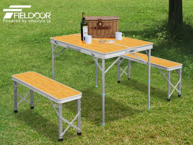 ピクニックのセットテーブル