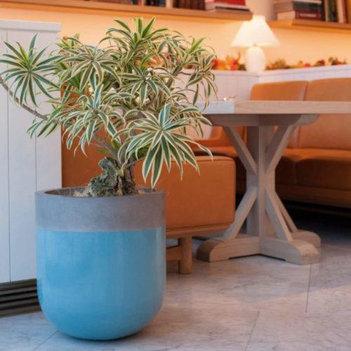 おしゃれな陶器のブルー鉢カバー