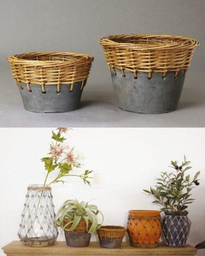 カゴと陶器が統合したおしゃれな鉢カバー